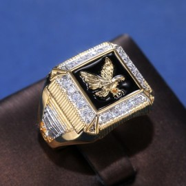 18K GOLD EP CZ ROUND CUT MENS EAGLE DRESS RING