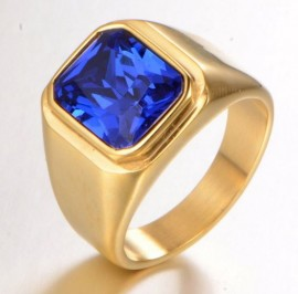 18K GOLD EP 2.0CT SAPPHIRE MENS RING