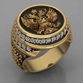 18K GOLD EP MENS EAGLE DIAMOND SIMULATED DRESS RING