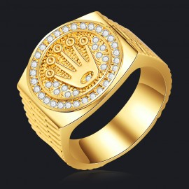 18K GOLD EP ROUND CUT MENS EAGLE DRESS RING