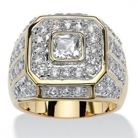18K GOLD EP MENS PRINCESS CUT DIAMOND SIMULATED DRESS RING
