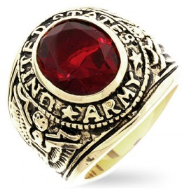 18K GOLD EP ARMY ROUND CUT MENS RING ruby