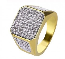 18K GOLD EP CZ ROUND CUT MENS CLUSTER DRESS RING